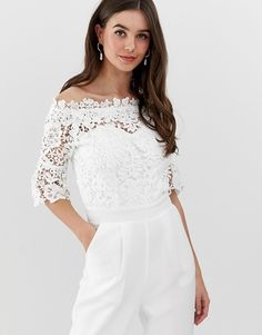 Lace off the shoulder bridal jumpsuit in white  #bridetobe #brides #jumpsuits #wedding #whitejumpsuit #weddingsuit #weddingjumpsuit