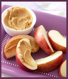 Carb: 1 small apple, cut into wedges  Protein: 2 tablespoons PB2 Powdered Peanut Butter  Dieters love this low-fat peanut butter powder. Just add water and stir.