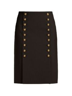 Click here to buy Saint Laurent Button-down wool-gabardine pencil skirt at MATCHESFASHION.COM