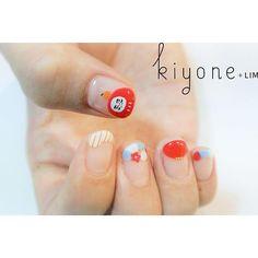 Sr.manicurist ::: NATSUMI だ る ま ♡ Da ru ma #kiyonelim #nails #nailart #daruma #singapore #natsuminail