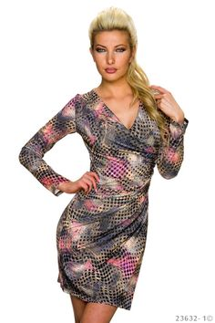 Esthetic Grey Dress, long sleeves, deep cleavage, print details, elastic and fine fabric