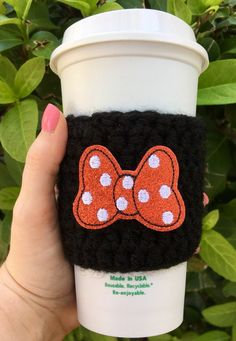 Mouse Bow Coffee Cozy // Black // Black Coffee Cozy, Cup Cozy, Drink Sleeve, Cup Holder, Can Holder, Stocking Stuffer, Cup Hug, Coffee Mug -This cozy is made in a thin stitch! Its can be used for hot or cold drinks and fits most cup sizes! The yarn its made with is a soft blend of wool and acrylic. Coffee Mugs, Do It Yourself Organization, Coffee Cup Holder, Crochet Coffee Cozy, Velvet Scrunchie, Can Holders, Coffee Sleeve, Mug Cozy