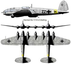 Heinkel He 111 Z (Zwilling) :This was a design that entailed the merging of two He 111s. The design was originally conceived to tow the Messerschmitt Me 321 glider. Initially, four He 111 H-6s were modified. This resulted in a twin-fuselage, five-engine aircraft.10 were produced and five were built from existing H-6s.It could tow a Gotha Go 242 glider or Me 321 for up to 10 hours at cruising speed. They were also planned as heavy bombers.