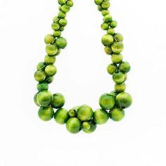 MoleCOOLs Light Green wooden necklace Wooden Bead Necklaces, Wooden Beads, Cluster Necklace, Beaded Necklace, Bubbles, Green, Etsy, Pearl Necklace
