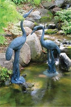 www.diy-gardensupplies.com The unique Crane with Lowered Head Spitter w/pump - (b) is a decorative piece which adds beauty and increase the grace of your lawn or garden. Made with the expensive material such as brass, steel or copper , its stunning look can easily touch the heart of everyone . Features: Light-weight and durable Can be used indoors or outdoors Dimensions: 19.3? L x 11.2? W x 34.4? H Weight: 11 lbs