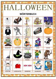 Halloween Clipart, Halloween Cards, Vintage Halloween, German Resources, English Teaching Resources, German Language Learning, English Language, Anchor Charts, German Words
