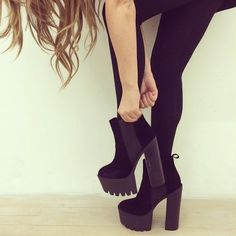 thatisstylish:  Platform Shoes- get it here  overalls and stilettos