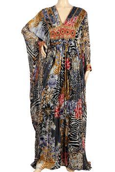 "aljalabiya.com: ""Jungle Empress"" Butterfly chiffon patterned kaftan with hand embroidery (N-11576-5) $194.00"