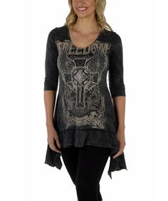 This Black Embellished 'Freedom' Sidetail Top - Women & Plus by Liberty Wear is perfect! #zulilyfinds