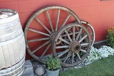 I want these wagon wheels for outdoor decor with my wine barrels