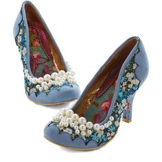 Irregular Choice Ode to Opulence Heel ($160) ❤ liked on Polyvore featuring shoes, pumps, heels, blue, pump heel, blue floral pumps, slip on shoes, floral print shoes, blue floral shoes and blue high heel shoes