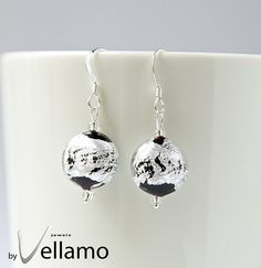 Earrings with silver and black coin shaped Murano by byVellamo, $18.00