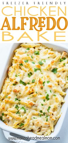 This easy freezer-friendly Chicken Alfredo Bake is going to be your new favorite family meal!  Better than Olive Garden and cheaper, you will not believe how easy it is to whip up and just how good it tastes!  #freezer #freezermeals #chicken #alfredo #easydinner Easy Pasta Recipes, Raw Food Recipes, Easy Casserole Recipes, Dinner Recipes, Meal Recipes, Healthy Recipes, Sauce Recipes, Cooker Recipes, Drink Recipes