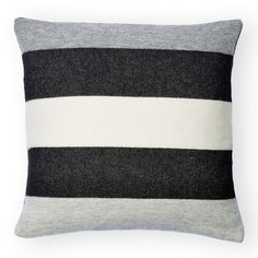 This envelope-style pillow case has a tri-striped pattern inspired by wool blankets from the early 1940's. The traditional trapper design, with its tri-stripe pattern in grey, white and black, evokes the long history of the Faribault Woolen Mill Company, founded in 1865 in Faribault, Minnesota.