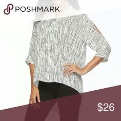 """🚨SALE🚨🆕Apt.9 Blouse Beautiful cold shoulder, high low hem, button down blouse from Apt.9. 100% Polyester. Approx.measurements: bust 48"""", length 25.5""""(front) 30""""(back). 🚨Price firm unless bundled!🚨 Apt. 9 Tops Blouses"""