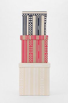 Magical Thinking Geo-Stripe Storage Boxes  $29 @ urbanoutfitters.com