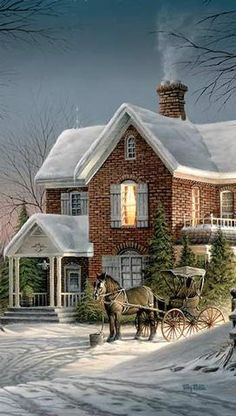 House Call, While The Horse Waits ~ Terry Redlin Christmas Scenes, Christmas Past, Winter Christmas, Xmas, Winter Pictures, Christmas Pictures, Terry Redlin, Vintage Christmas Images, Winter Scenery