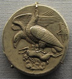 Gorgeous ancient Greek tetradrachm coin from Akragas, 410 BC. A grasshopper is depicted on the right. The ancient Greeks were beyond gifted in minting designing coins. Ancient Greek Art, Ancient Greece, Ancient History, Gold And Silver Coins, Antique Coins, Rare Coins, Ancient Artifacts, Coin Collecting, Archaeology