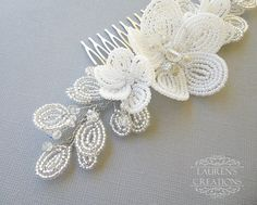 Large White Beaded Flower Wedding Hair Comb by LaurenHCreations