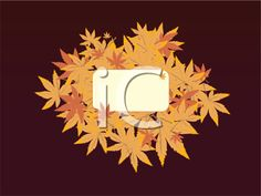 iCLIPART - Royalty Free Clipart Image of an Autumn Leaf Frame on Brown