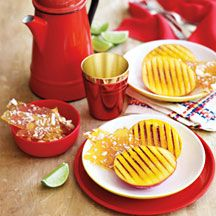 Barbecued mango with macadamia brittle