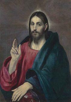 El Greco Salvator Mundi oil on canvas x 26 in. Spanish Painters, Spanish Artists, Renaissance, Salvator Mundi, Christian Artwork, Jesus Painting, Jesus Face, Creta, Byzantine Art