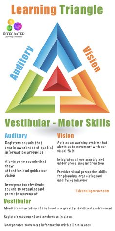 Learning Triangle: Without the Vestibular, Visual and Auditory Working Together, Learning Fails - Integrated Learning Strategies Learning Tips, Auditory Learning, Learning Styles, Learning Disabilities, Kids Learning, Visual Learning Strategies, Learning Process, Vestibular Activities, Vestibular System
