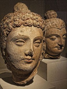 Head of a Bodhisattva Pakistan or Afghanistan Gandharan region 4th-6th century CE Stucco with traces of pigment, #buddha #buddhism #sculpture #statue