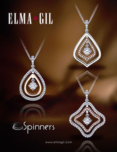 """Diamond Jewelry Elma Gil """"Spinners"""" Pendants Each layer can flip to show white gold, rose gold, or diamond. Pendant Design, Pendant Set, Diamond Pendant, Diamond Jewelry, Gold Jewelry, Jewelery, Diamond Rings, Vintage Jewellery, Antique Jewelry"""