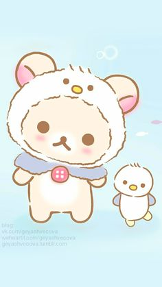 Tiny and cute li'l baby penguin! Rilakkuma Wallpaper, Sanrio Wallpaper, Kawaii Wallpaper, Iphone Wallpaper, Cute Animal Drawings Kawaii, Kawaii Drawings, Cartoon Drawings, Cute Images, Cute Pictures