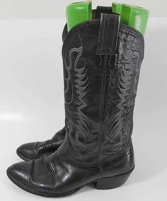 Nocona texas black leather western cowboy boots 8 d more cowboy boots