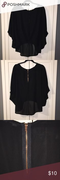 Sheer Butterfly Sleeve Dressy Top Sheer Black Dress Top in Size Small from Forever 21. Sheer all around. Rose gold zipper on back. Forever 21 Tops Blouses