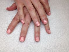 White gel nails with orange stamps White Gel Nails, My Nails, Stamps, Orange, Seals, Postage Stamps