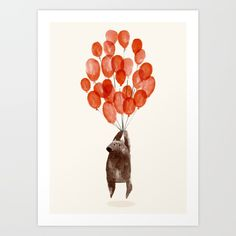 Surreal cartoon illustration of a cute whimsical bear holding on to a bunch of balloons.<br/> <br/> fly, surreal, cute, funny...