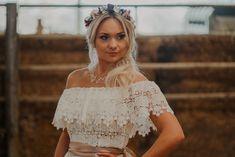 Boho Bride in Off the Shoulder Lace Wedding Dress and Flower Crown Sage Wedding, Floral Wedding, Popular Color Schemes, Wedding Converse, Bouquet Charms, Bridal Table, Warehouse Wedding, Fairytale Weddings, Boho Bride
