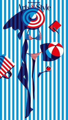 Malika Favre Note: * SIMPLE yet very sophisticated            - women's face on cast shadow            - diagonal line on the bag           - curved stripes bikini creates form           - united by simple colours           - balanced by surrounding objects