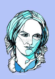 'Charlotte Bronte British author' Sticker by ArtyMargit Charlotte Bronte, Canvas Prints, Art Prints, Op Art, Diy Stuff, Contemporary Art, My Design, Sticker, British