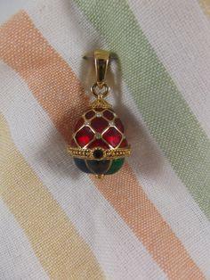 Romanov Egg Pendant Faberge Enameled Jeweled Russian by acornabbey