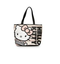 Hello Kitty Pearls Stripe Tote - LA COQUETA JEWELRY 8c864c7028377