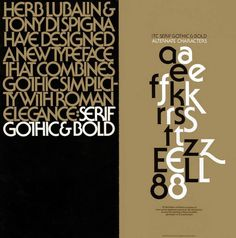 Promotional brochure announcing Serif Gothic typeface designed by Herb Lubalin and Tony Di Spigna – 1974 Brochure designed by Herb Lubalin