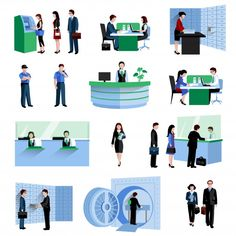 Buy Bank People Set by macrovector on GraphicRiver. Bank people customers and staff decorative icons flat set isolated vector illustration. Man Vector, Vector Design, Vector Art, Automated Teller Machine, Software, Vector Online, Dog Poster, Instructional Design, Silhouette Vector