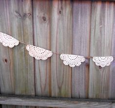 Shabby Chic Crochet Doily Banner - Weddings, Baby Showers, Home Decor, Photography Prop. $25.00, via Etsy.
