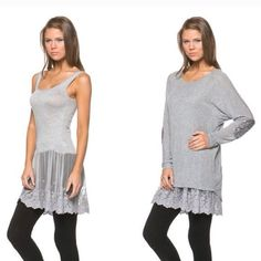 """Gray Lace Cami Extender Great under top and dress. Brand new with tag. 95% rayon and 5% spandex. Measurement laying flat: bust: 18"""" length: 36"""" Boutique Intimates & Sleepwear Chemises & Slips"""