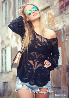 Very sheer lace would work for the top too...Black Long Sleeve Hollow Crochet Lace Blouse - Sheinside.com