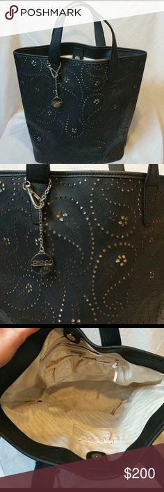 DKNY Black Leather Handbag DKNY Saffiano perforated Leather oversized handbag! Beneath the holes is a beautiful nude color, very versatile! Can fit anything you can put in :-) Reasonable offers/ Bundle and save $$!! Used only once so it's in excellent shape! Dkny Bags
