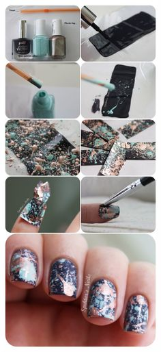 Splatter nail tutorial DIY decals! #pictorial #blackpolish #nailart - Check out bellashoot.com for more nail looks & share yours!