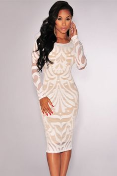 White Victorian Net Nude Illusion Her Fashion Long Sleeves Women Dress
