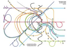 The orbital railway - plotting the Tube, rail and DLR, tram, and cable car line onto a topologically accurate map. | 17 London Underground Maps You Never Knew You Needed
