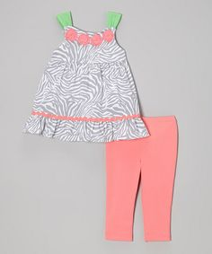 Gray Zebra Babydoll Top & Pink Leggings - Infant, Toddler & Girls  found on Zulily - http://www.zulily.com/invite/sruss4420