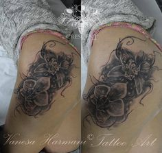 #realistic #orchids #black #and #grey #tattoo